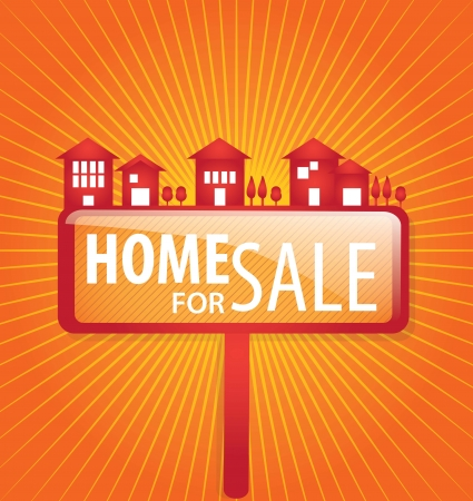 Home for sale  over orange background. vector illustration Stock Vector - 17623170