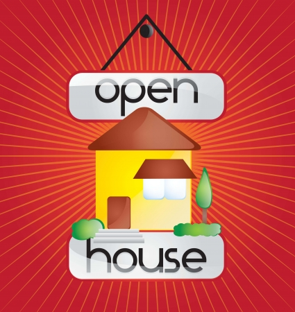Open house announcement over red background. vector Ilustração