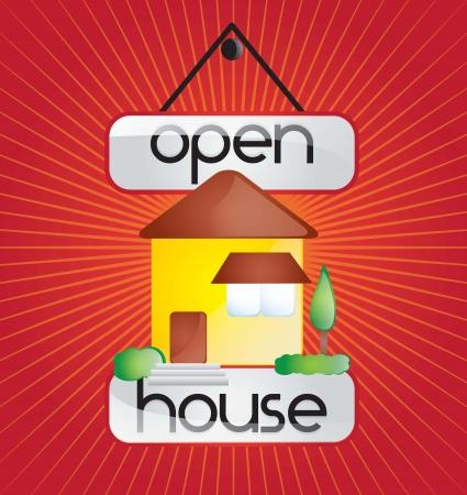 open huis: Open huis aankondiging over rode achtergrond. vector