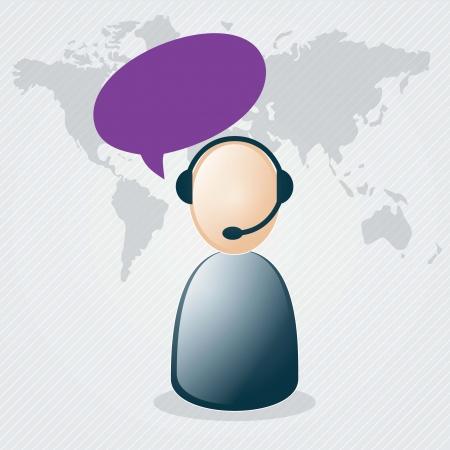 Customer service agent  on grey background, vector illustration Stock Vector - 17623085