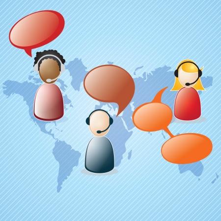 Customer service agent  on blue background, vector illustration Illustration