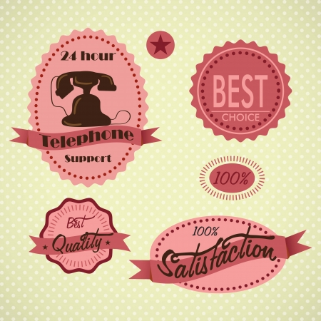Customer Service labels on vintage background. Vector illustration Stock Vector - 17623153