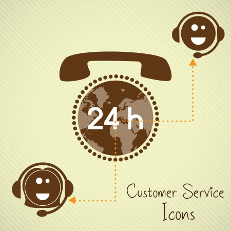 customer service representative: Customer service operators (24, hours) with headset and planet Illustration