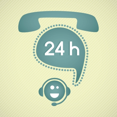 Customer service operator (24, hours)with headset and speech bubbles Vector