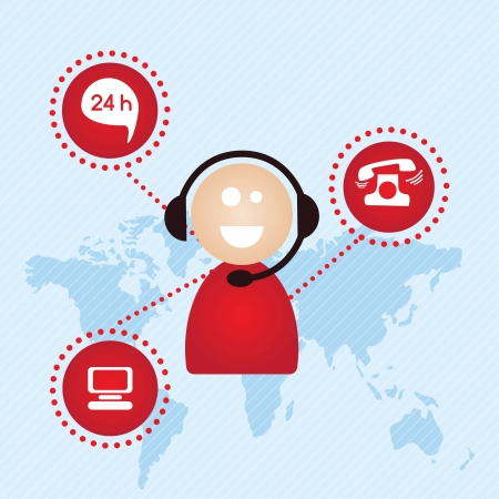 24 hours: Customer service agent with icons buttons, on blue background, vector illustration