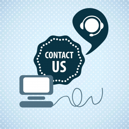 Customer Service icon (Contact us) on blue background Vector