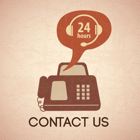 customer service phone: Customer Service icon (24 hours), vintage background. Vector