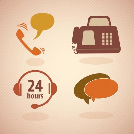 hotline: Kundenservice vintage icons.With reto Farben. Vektor Illustration