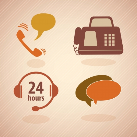 call center agent: Servicio al Cliente de �poca icons.With Reto colores. Vector