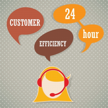 Customer service operator with headset and speech bubbles Vector