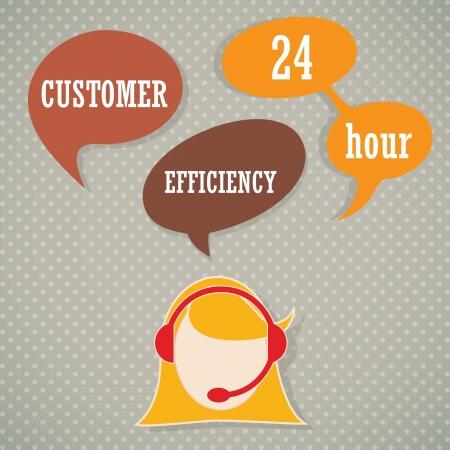 centre d affaires: Op�rateur de service � la client�le avec des bulles casque et de la parole Illustration