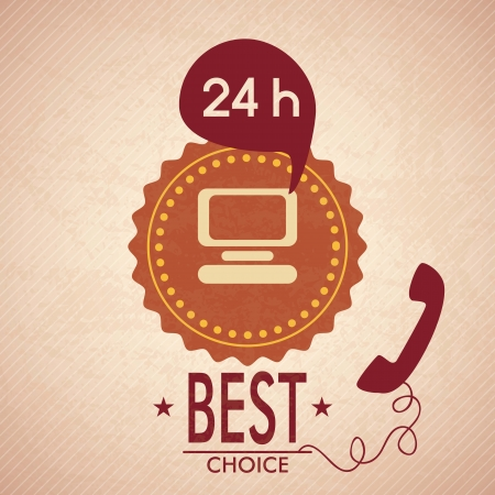 hour: Customer Service icon (24 hours), vintage background. Vector