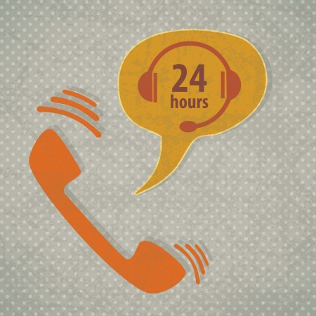 call center office: Customer Service icon (24 hours), vintage background. Vector
