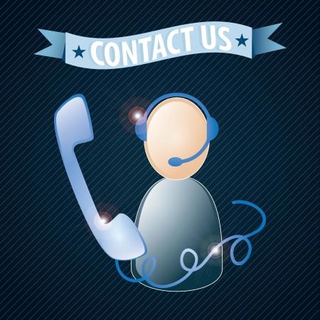 Customer service agent  on dark blue background, vector illustration Stock Vector - 17623163