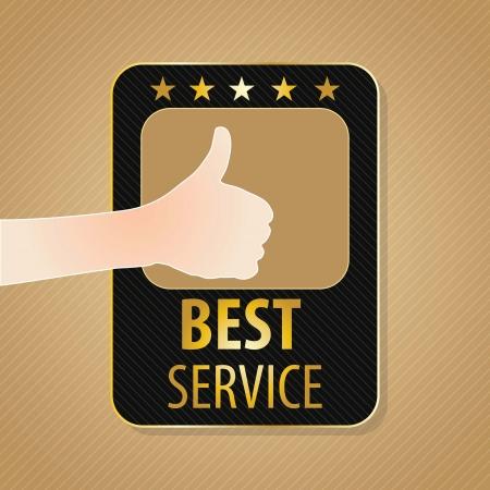 buen servicio: Best Service etiqueta, los colores dorados y marrones. Ilustraci�n vectorial