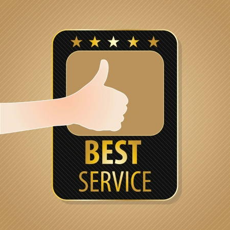 good service: Best Service label, golden and brown colors. Vector illustration Illustration