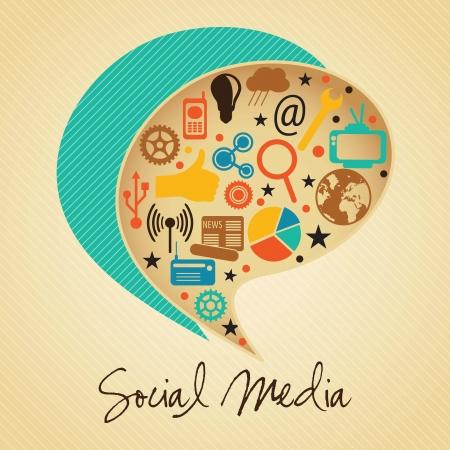 interaccion social: Colores retros Social concepto de medios con burbuja de texto (conjunto de iconos), en el fondo vintage.