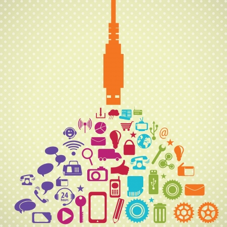 Retro colors Social Media concept with USB plug  (icons set), on vintage  background. Vector