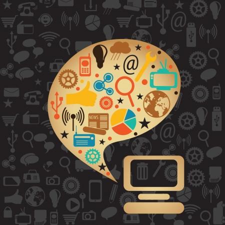 medios de comunicacion: Colores retros Social Media con burbuja concepto port�til y texto (conjunto de iconos), en el fondo oscuro.