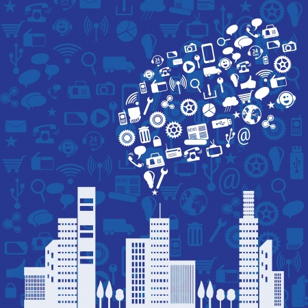 White Social Media concept with city (icons set), on dark   blue background. Vector