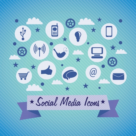 Social Media icons set with ribbon, on blue  background. Vector