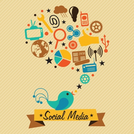 Retro colors Social Media concept with bird and text bubble (icons set), on vintage  background. Stock Vector - 17623098