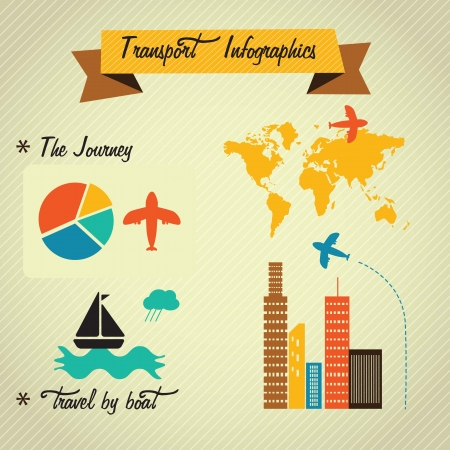 Transport Infographics with (buildings,map, world, continents, airplane, sailboat). Vintage style icons Stock Vector - 17623137