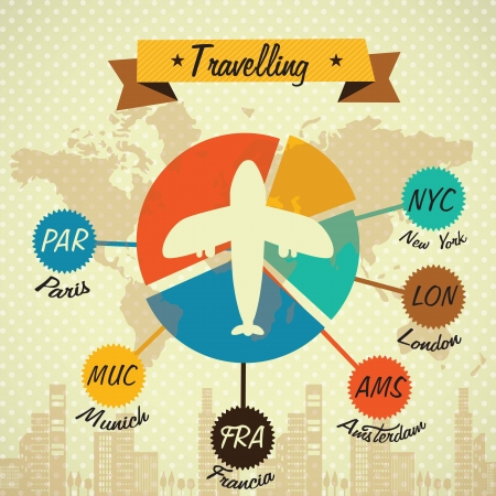 Transport Infographics with airplane. Concept of travelling. Vintage style icons Stock Vector - 17623243