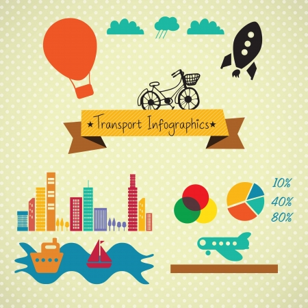 Transport Infographics Retro icons, on Vintage background Stock Vector - 17623228