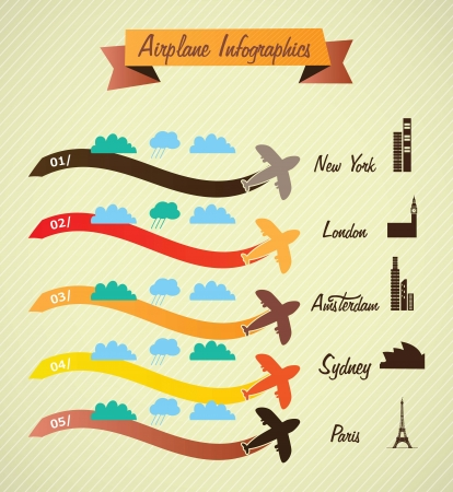 Transport Infographics, cretro colors airport information. On vintage background Stock Vector - 17623175