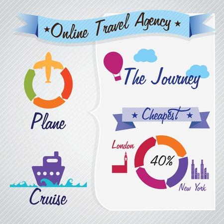 agencia de viajes: Transporte Infograf�a agencia de viajes online. Ilustraci�n vectorial