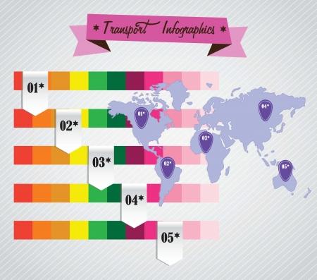 else: color bars, to attach information, about flights or anything else. Vector Illustration