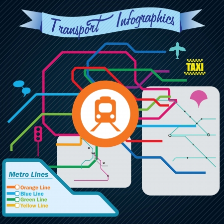 Transport Infographics m ap of metro lines, vector illustration Stock Vector - 17623138