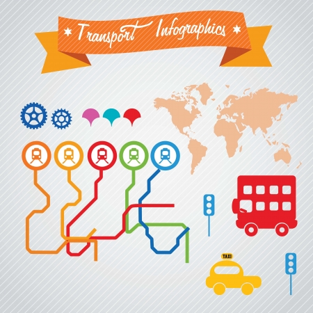 Transport Infographics metro lines, bus, and taxi. Vector illustration Vector