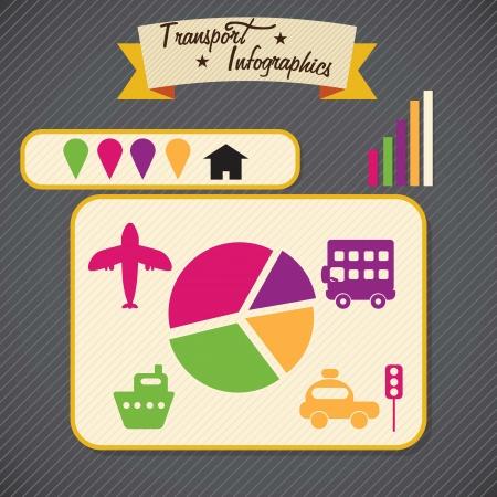 Transport Infographics elements on black background. Vector Stock Vector - 17623113