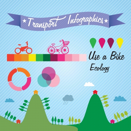 Transport Infographics about ecology and use bike. Vector illustration Stock Vector - 17623149