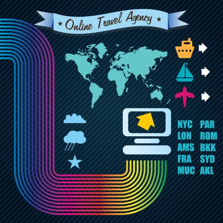 Transport Infographics Online travel Agency. Vector illustration Stock Vector - 17623161