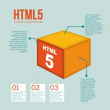 html 5: html 5 illustration with cube, vintage. vector illustration Illustration