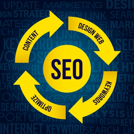 optimize: seo illustration with arrows and words. vector background
