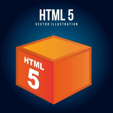 html 5: html 5 illustration with orange cube. vector illustration