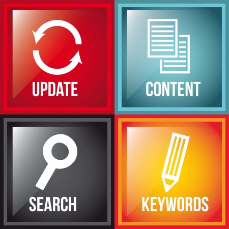 news update: seo icons over colorful squares background. vector illustration Illustration