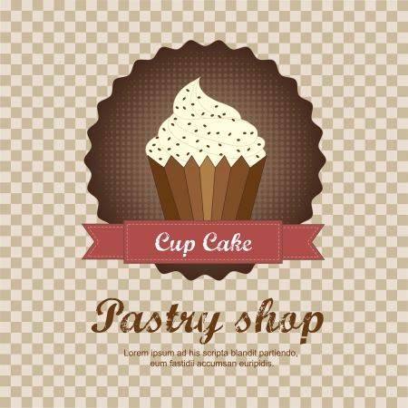 pastry shop background with cup cake. vector illustration Vector