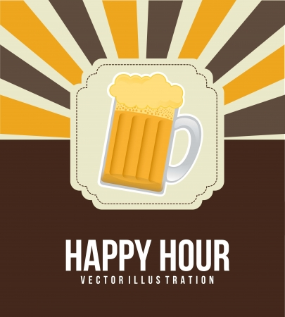 happy hour illustration with beer over vintage background. vector Vector
