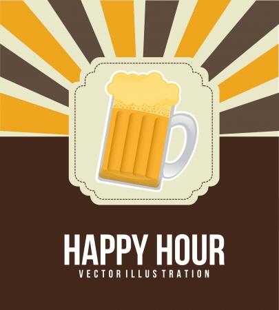 horas: ilustraci�n happy hour con cerveza sobre fondo vintage. vector Vectores