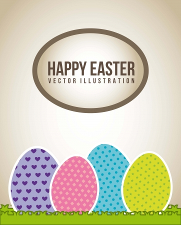 happy easter card, vintage style. vector illustration Stock Vector - 17677374