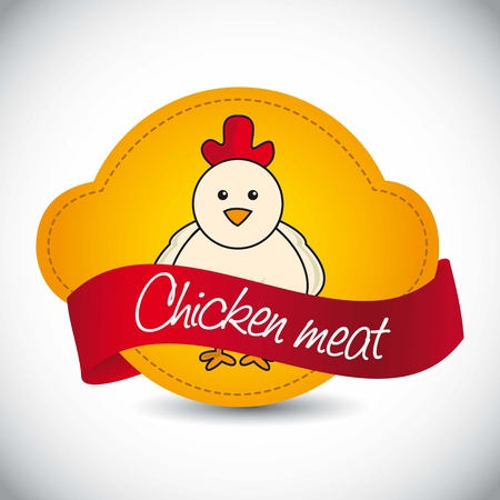 chicken label over gray background. vector illustration Stock Vector - 17677196
