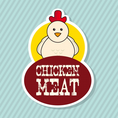 plumed: chicken label over blue background. vector illustration