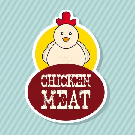 chicken label over blue background. vector illustration