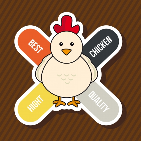chicken label over brown background. vector illustration Stock Vector - 17677189