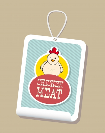 plumed: chicken label over brown background. vector illustration